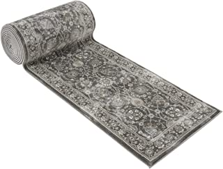 25' Stair Runner Rugs - Luxury Kashan Collection Stair Carpet Runner Nearly 1 Million Points Per Sq.Meter (Grey)