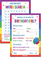 Kids Birthday Party Games for Girl (30 Pack) - 15 How Well Do You Know the Birthday Girl Cards and 15 Word Search Cards