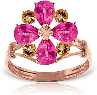 2.43 Carat 14k Solid Rose Gold Natural Pink Topaz and Natural Citrine Flower Ring