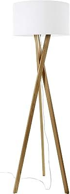 EXO Lighting - Lampadaire de salon WOOD Hêtre intérieur E27 IP20 Abat-jour blanc inclus. Lampadaire pour salons ou chambres.