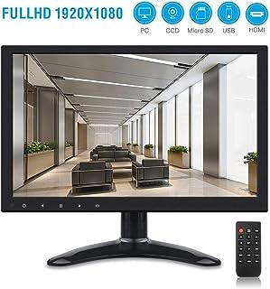 TOGUARD Monitor 12 pulgadas Pantalla Digital LCD IPS HD 1920*1080 con AV HDMI VGA USB Micro SD Altavoz Integrado
