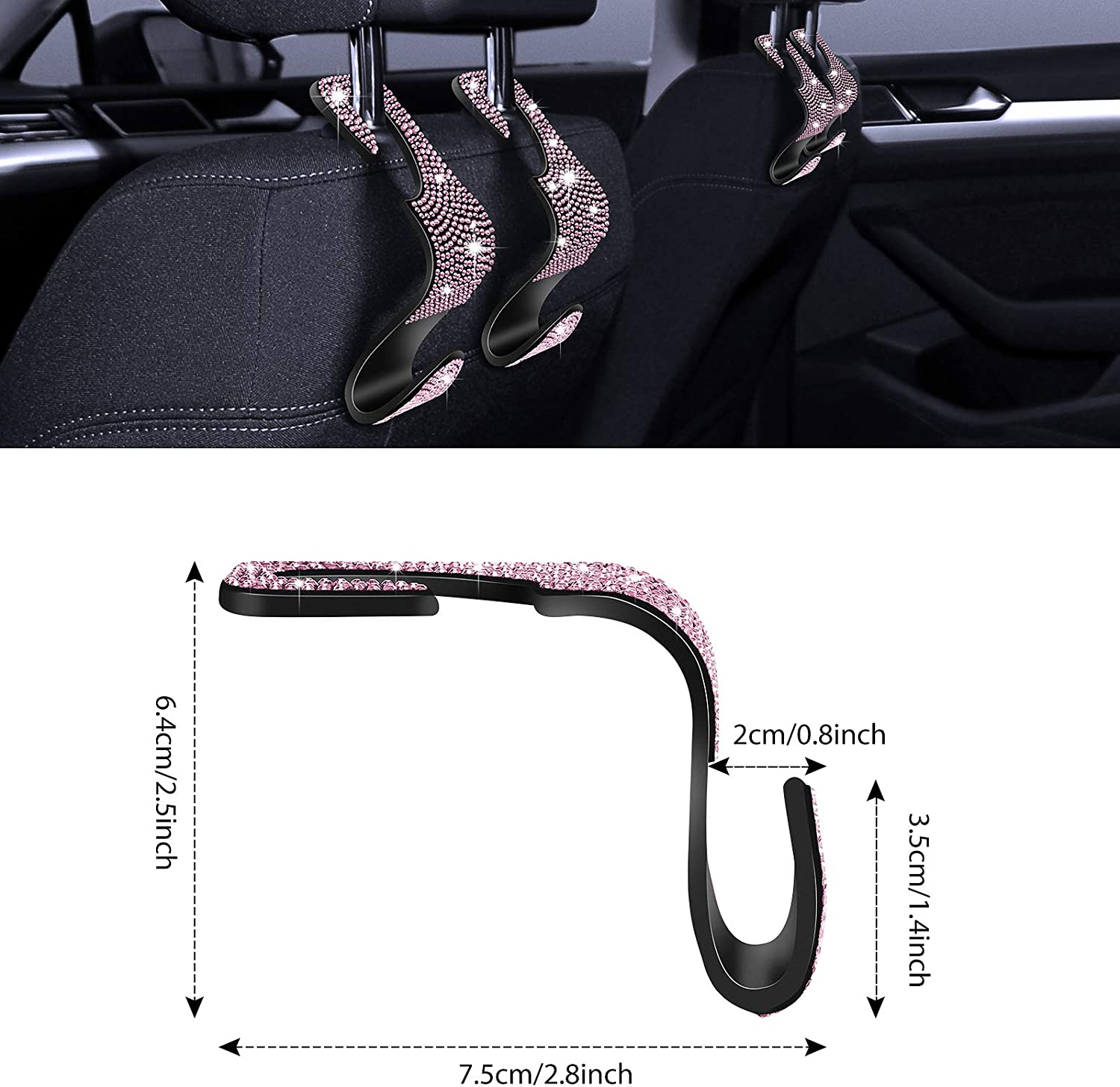 Car Headrest Hooks with Rhinestone Diamond Hanger Back Seat Organizer for Vehicle 4 Car Hooks with 1 Car One-Button Start Ring Backseat Bling Car Hooks Bling Car Seat Hanger Black Rhinestone