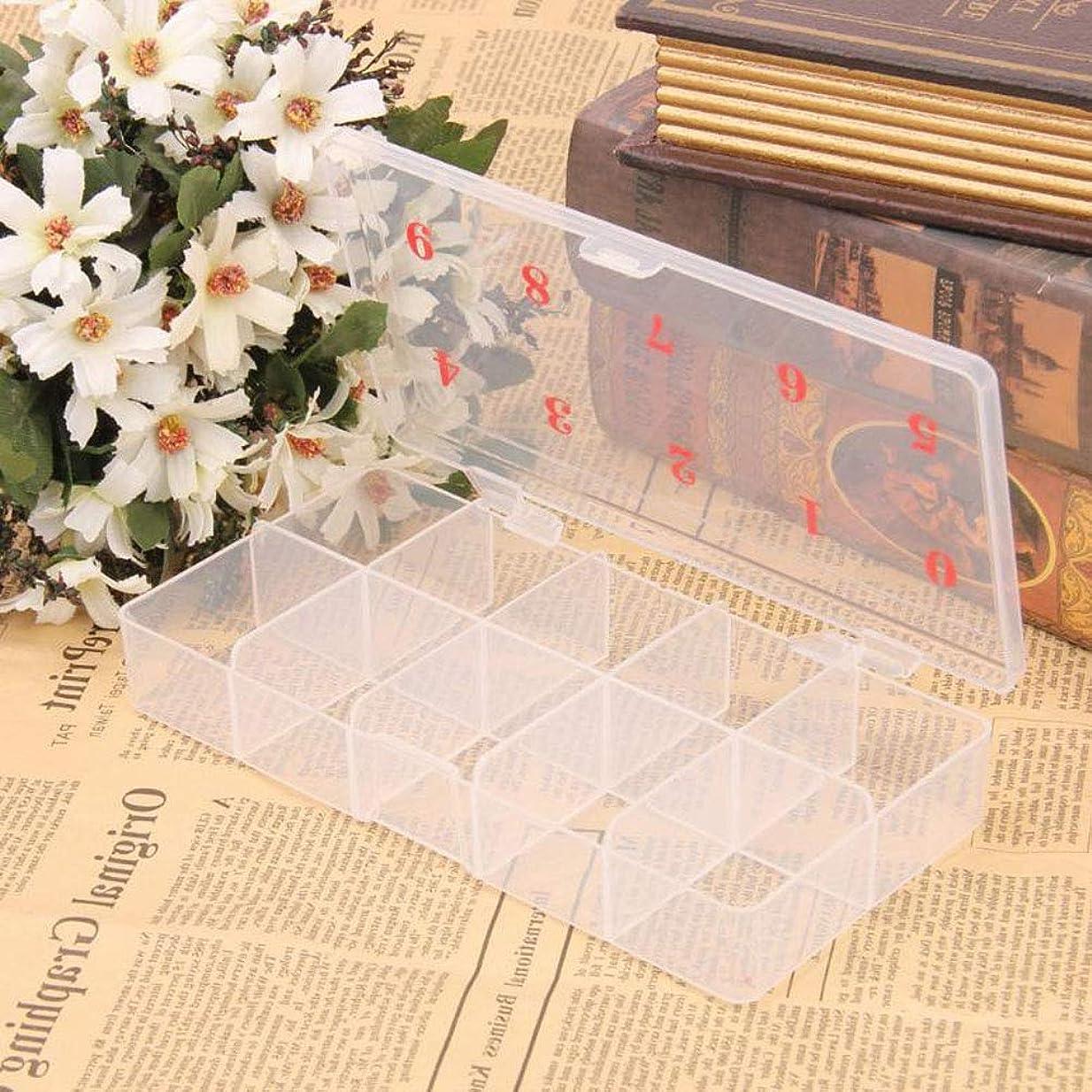歌クレアヘッジslQinjiansavネイルアート&ツール収納コンテナ10グリッド番号プラスチックフェイクネイルチップ収納ケースボックスコンテナオーガナイザー