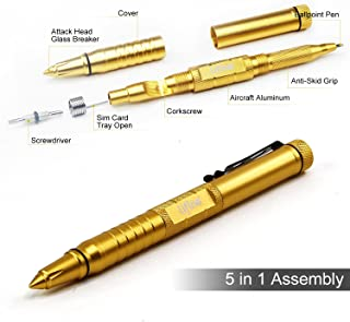 Lifine Tactical Pen 5-in-1 Self Defense Multitool Pen for Personal Protection with Ballpoint Pen, Both End Screwdrivers, Glass Breaker, Bottle Opener, SIM Card Needle (Gold) …