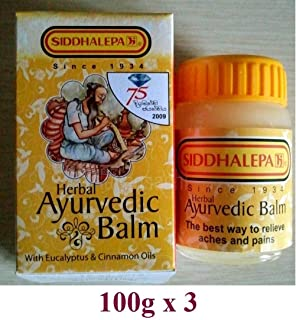 100g X 3 Siddhalepa Ayurveda Ayurvedic Herbal Balm Pain Cold Flu Headaches (100g x3)