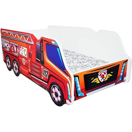 Moderne Lit d'Enfant Bébé Toddler avec matelas 140 x 70 – Truck – Fire Truck