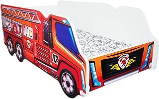 Cama infantil con colchón, diseño moderno de coche de bomberos