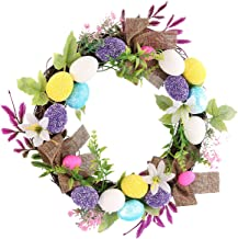 Easter Artificial Wreath Front Door Easter Eggs Hanging Wreath Garland for Party Favor Festival Home Wall Decoration (D)