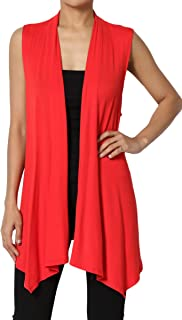 TheMogan Sleeveless Waterfall Jersey Cardigan Lightweight Draped Layering Vest