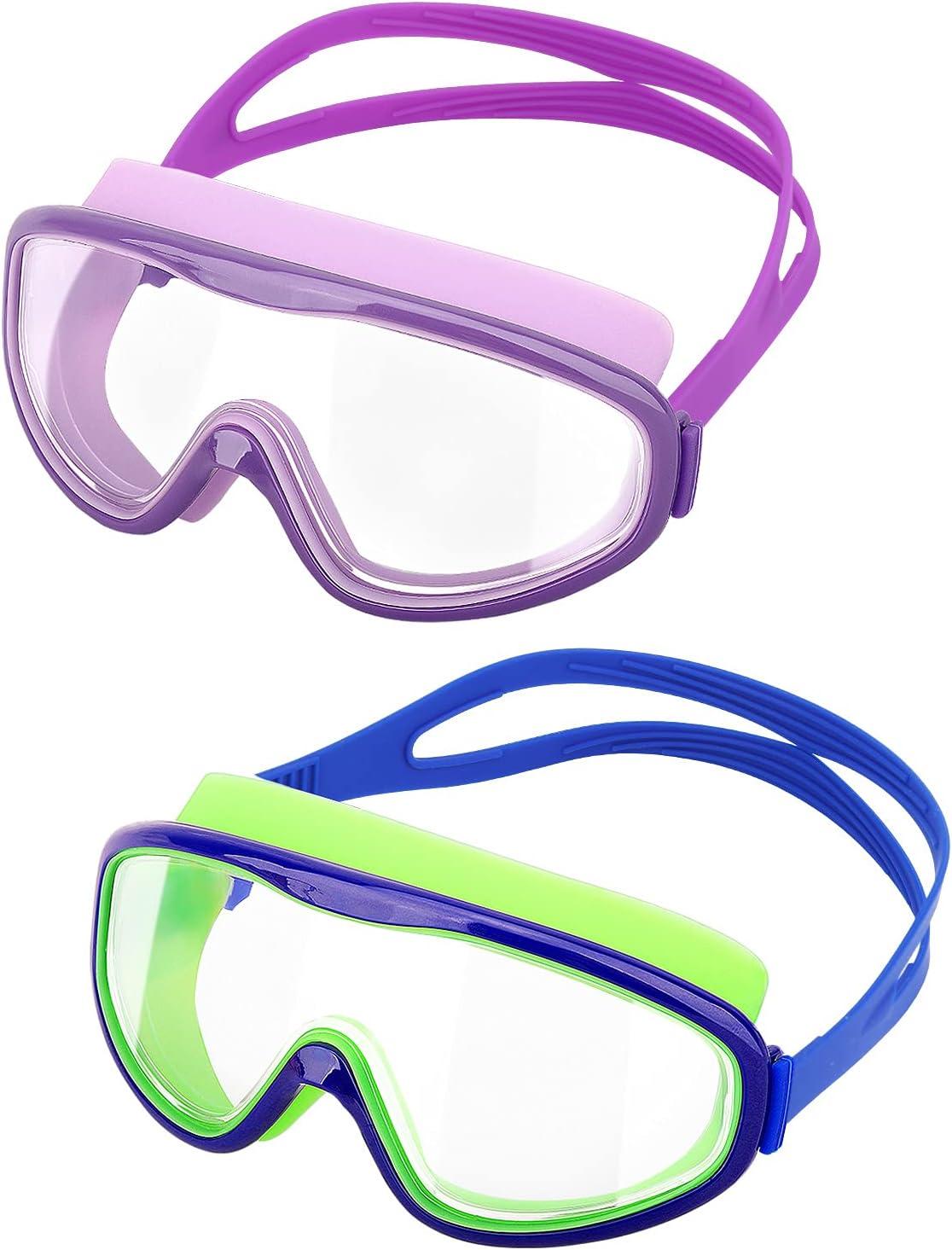 HeySplash [2PZS Gafas de Natación para Niños Transparente Sin Fugas Anti-vaho, Antiniebla Gafas Protección UV de Visión Amplia con Clips de Nariz y Tapones para Oídos