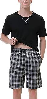 Irevial Men Pjs Satin Silk Pajama Set Short Sleeve Loungewear Nightwear Sleepwear Top & Bottoms Outfits