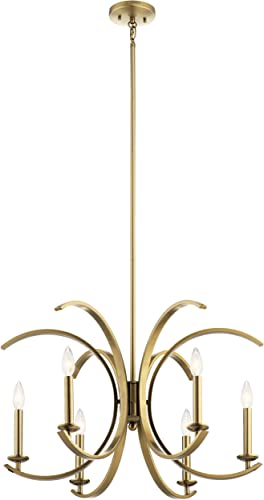 discount Kichler popular 52116BNB Cassadee sale Chandelier, 6-Light, Natural Brass online sale