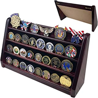Indeep Challenge Coin Holder 4 Row Military Coin Display Stand Rack Mahogany Finish