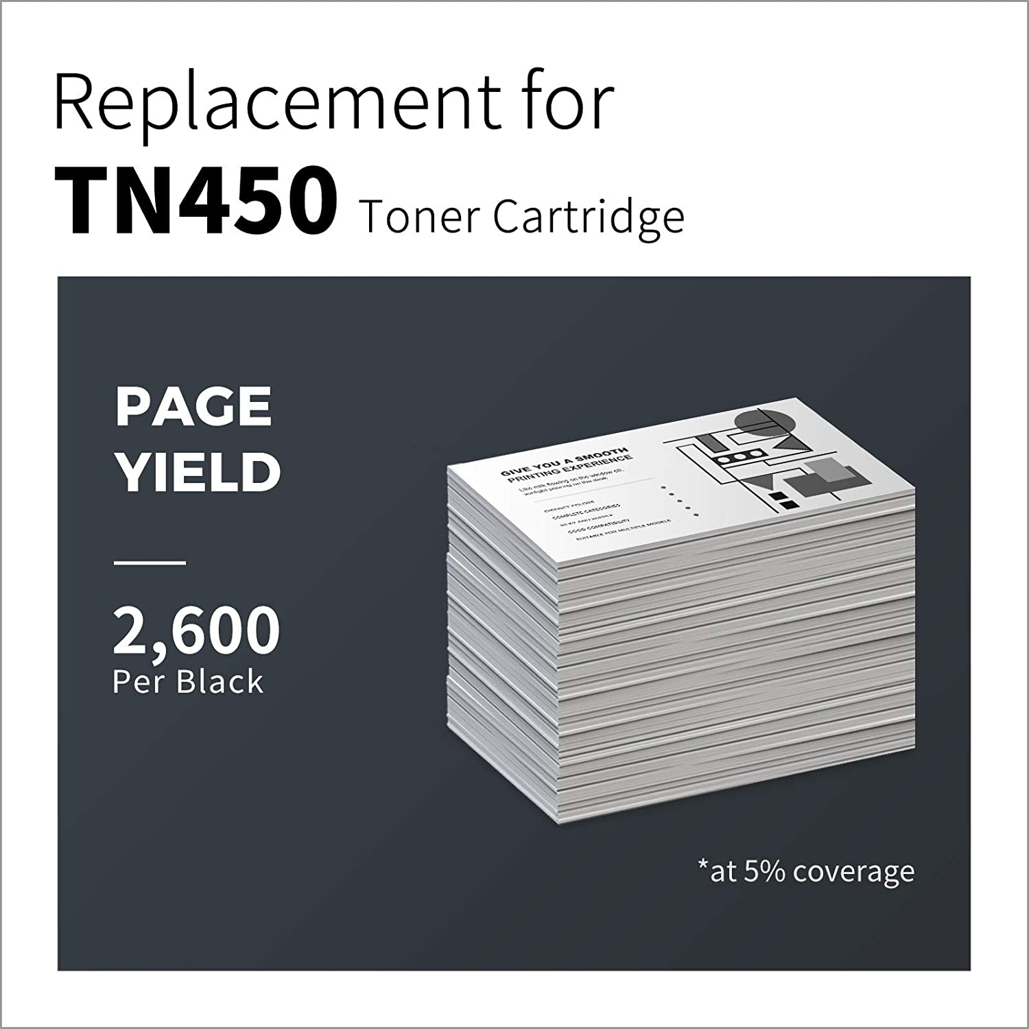 LemeroSuperx Compatible Toner Cartridges Replacement for Brother TN450 TN-450 TN420 Work for IntelliFax-2840 MFC-7860DW HL-2270DW HL-2280DW MFC-7360N HL-2240 (Black, 2 Pack)
