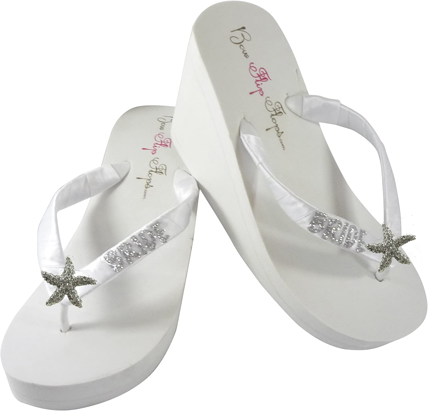 Starfish Glitter Wedding Flip Flops for Bride Wedge Bridal Ivory White Platform Heel shoes Sandals Beach