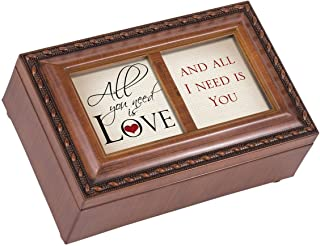 Cottage Garden All You Need is Love Woodgrain Jewelry Music Box Plays Tune All You Need is Love