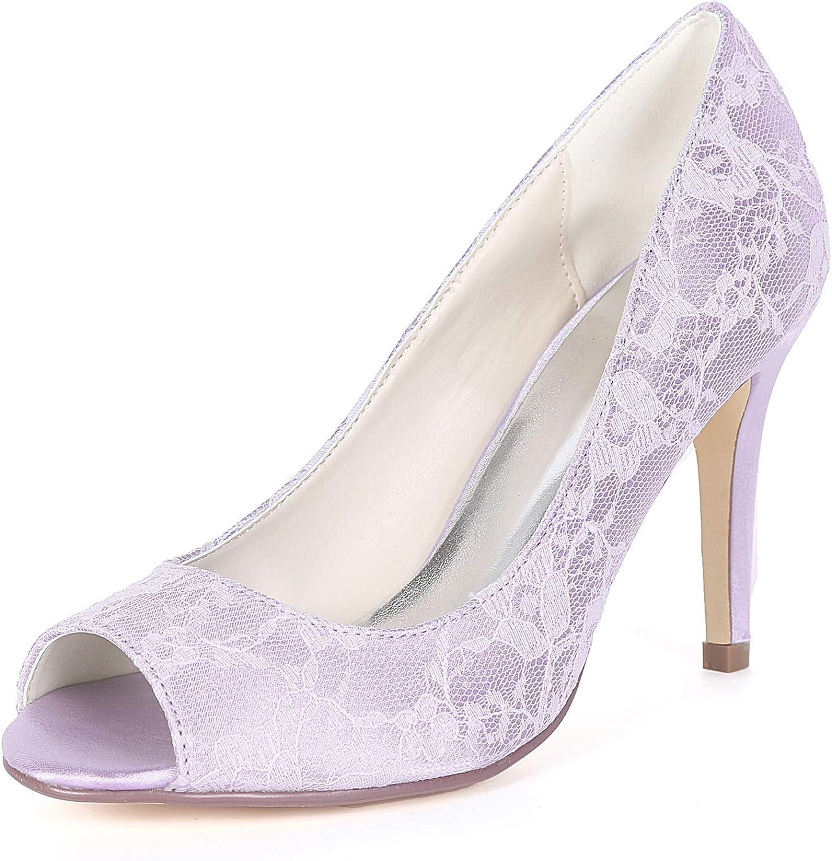 L@YC Frauen Hochzeit Schuhe Chunky Peep Toe Spitze Spitze Spitze Weiß High Heels Plattform Kätzchen   9 cm Ferse  f9e27d