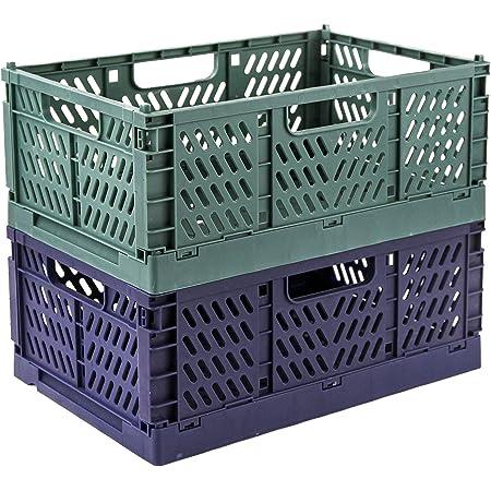 フォールディングコンテナ 折りたたみ コンテナ 収納ケース ボックス バスケット フォールディング かご 収納箱 積み重ね(ミッドナイト グリーン+ブルー, M)