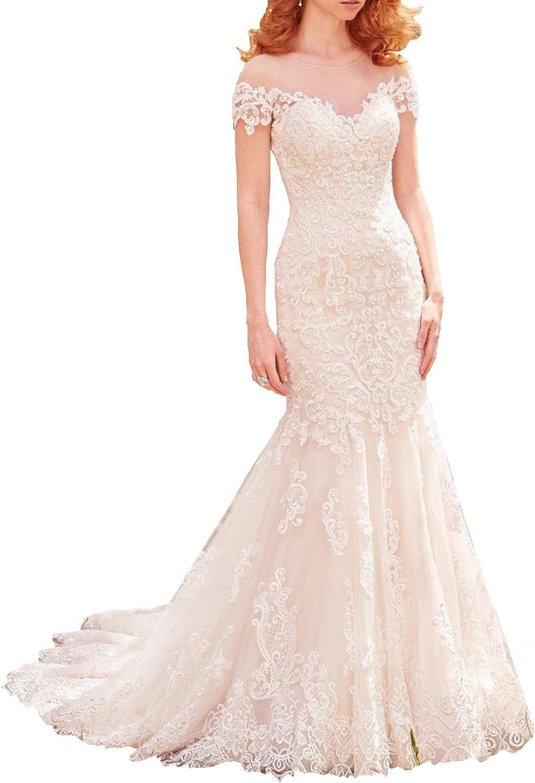 Changjie Women's Illusion Neck Cap Sleeve Lace Mermaid Bridal Wedding Dress