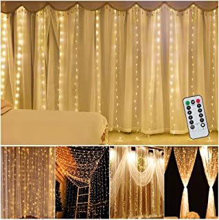XINKAITE Curtain Lights 9.8ft×9.8Ft/3M×3M USB Powered 300 LEDs 8 Modes Fairy Lights Warm White Waterproof String Lights for Wedding, Party, Bedroom, Christmas