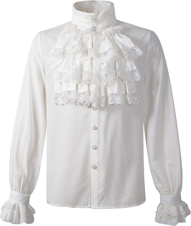 Mens Gothic Shirt Top Steampunk Victorian Regency Aristocrat