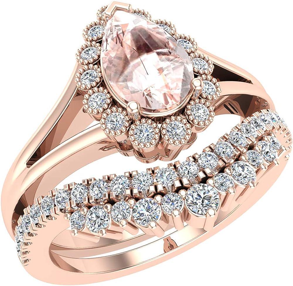 新発売 Morganite 売買 Engagement Ring - Wedding Women for Gold Set 14K