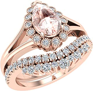 Morganite Engagement Ring - Wedding Ring Set for Women 14K Gold 8 mm Pear Shape