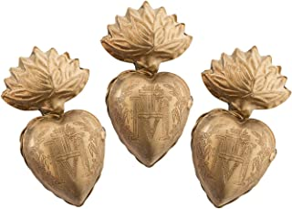 Sacred Hearts, Metal Heart Milagro, Gold Heart Box, Ex Voto, Set of 3