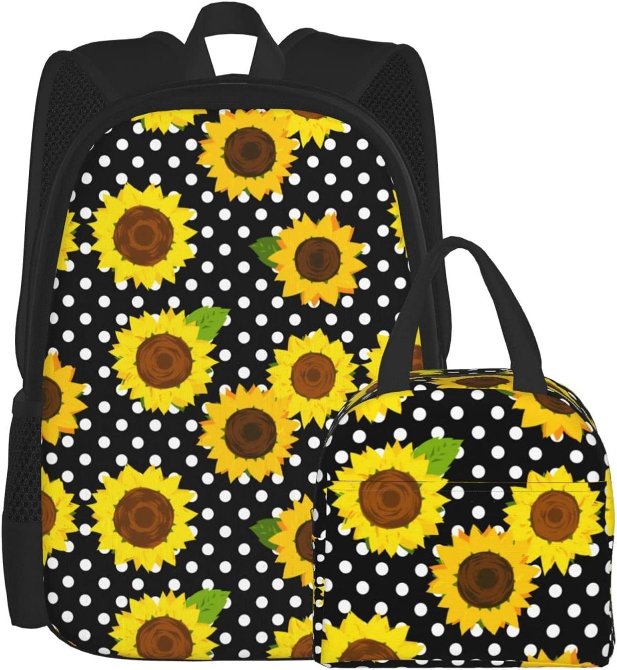 Backpack Lunch Bag Sets for Boys shipfree Trendy Girls Backpa New sales Sunflower