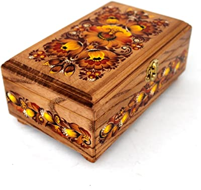 Ukrainian Petrykivka Floral Decorative Wooden Jewelry Box 6.75