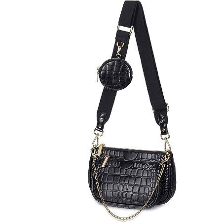 SUVIA Mehrzweck Umhängetasche Damen Crossbody-Taschen Multi-Tasche 3-Teilig Geldbörse Reißverschluss Mode Handtaschen mit Münzbeutel