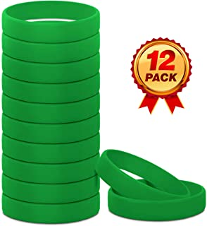 Silicone Rubber Bracelets (12 Pack), Extra Comfort Silicone Wristbands for Adults and Kids (12 Color Choices), Rubber Wristbands for Parties, Sports and Events, Durable and Flexible Silicone Bracelets
