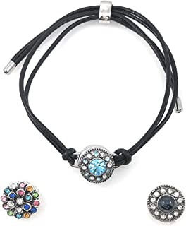 Snap Charm Black Leather Bracelet for 1 Mini Snap Button Includes Snaps Shown Adjustable for Women Girls Men