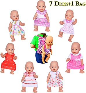 ebuddy Doll Clothes Include 7pc Doll Dress+1pc Backpag for 14-16 inch Alive Baby Dolls, New Born Baby Dolls and 18 inch American Girl Dolls,Our Generation Girl Dolls, Journey Girl Dolls