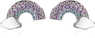 YooAi Orecchini A Bottone con Nuvole Arcobaleno Orecchini con Zirconi Cubici Regali di Gioielli per Le Donne