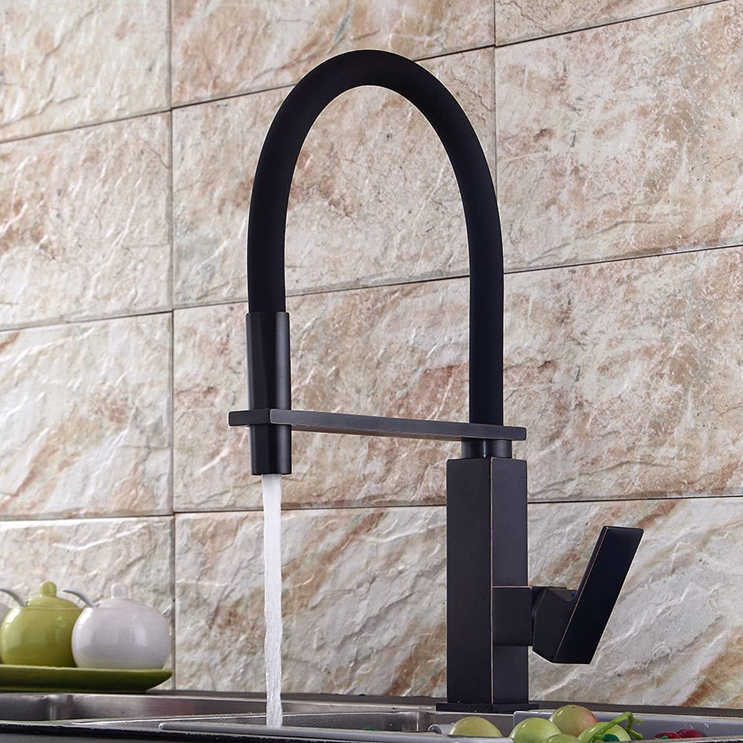 Lalaky Taps Faucet Kitchen Mixer Sink Waterfall Bathroom Mixer Basin Mixer Tap for Kitchen Bathroom and Washroom Black Black Ancient Cold Hot Water Mixing Valve redating Spring