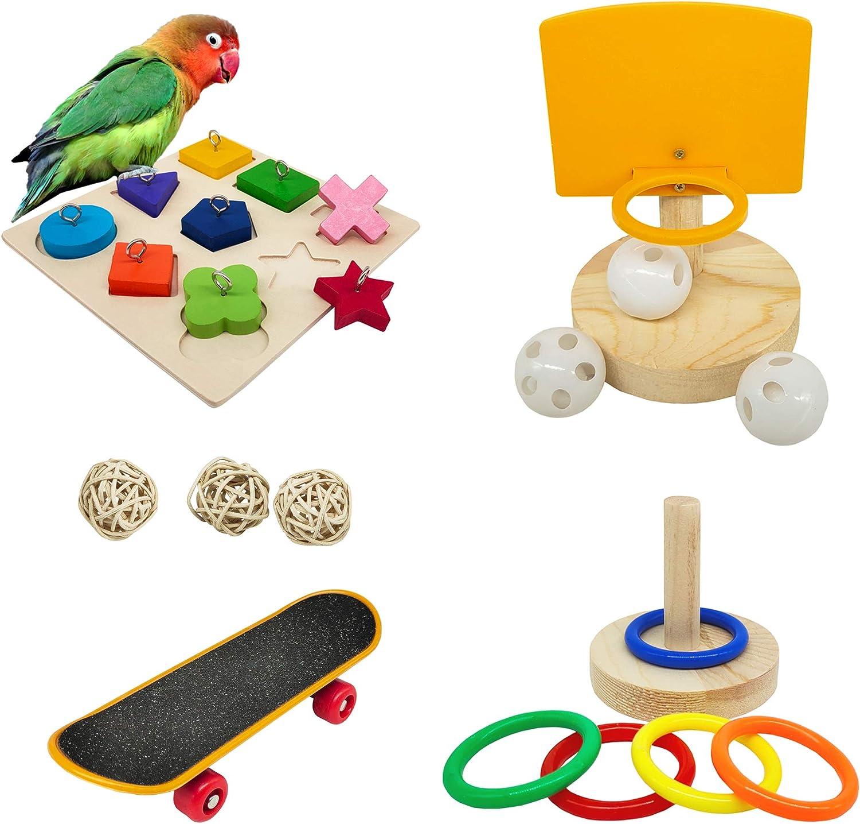 Bird Toys For Parakeets, 5pcs Parrot Toys Set (Include Bird Basketball Toy、Bird Skateboard、Bird Stacking Toy、Parrot Wooden Block Puzzles Toy、Small Sepak Takraw), Parakeet Toys、For Bird Training Toys : Pet Supplies