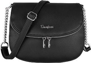 David Jones - Damen Kleine Umhängetasche - Zip Reißverschluss PU Leder Schultertasche - Messenger Crossbody Bag - Frauen E...