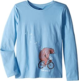 Bear Bike Flowers Crusher T-Shirt Long Sleeve (Little Kids/Big Kids)