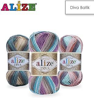 4 Balls Alize Diva Batik, Knitting Yarn, Crochet Yarn, Soft Yarn, Acrylic Yarn, Summer Yarn, Microfiber Yarn, lace Yarn, Bikini Pattern, Pattern