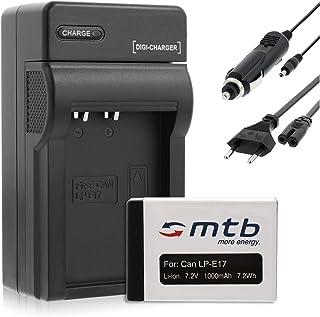 Baterìa 1000mAh + Cargador (Coche/Corriente) para Canon LP-E17 / EOS 750D 760D / EOS M3 (SIN indicación del Tiempo restante de Toma!)