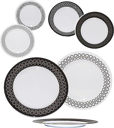 Preisvergleich für Unbekannt 2 Stück _ große Speiseteller - Retro & Vintage Design - schwarz & weiß - Teller - Ø 25 cm - FLACH - aus Melamin / Kunststoff Plastik - Campingteller / Cam..