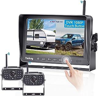 Yakry Y28 FHD 1080P Digital Wireless 2 Backup Camera for RVs,Trailers,Trucks,Motorhomes,5th Wheels 7'' Touch Key Monitor w...