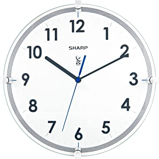 """Sharp Atomic Analog Wall Clock - 10.5"""" Suspended Glass Face Atomic Clock - Sets Automatically - Easy to Read - Updates Aut..."""