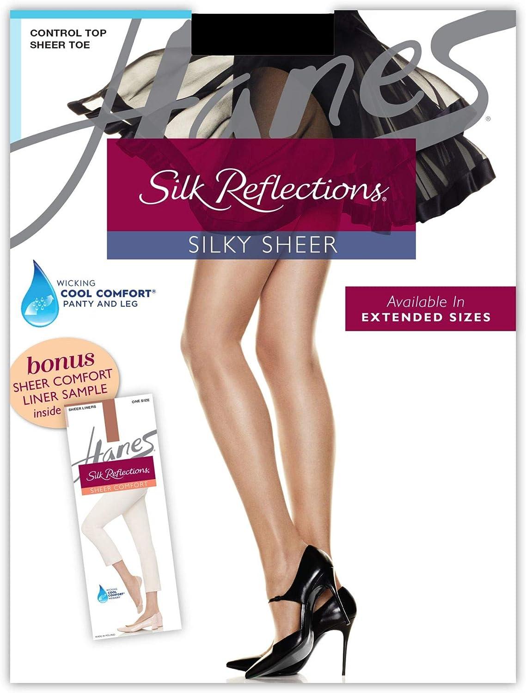 Hanes Womens Silk Reflections Pantyhose Sheer Liner Bonus Pack