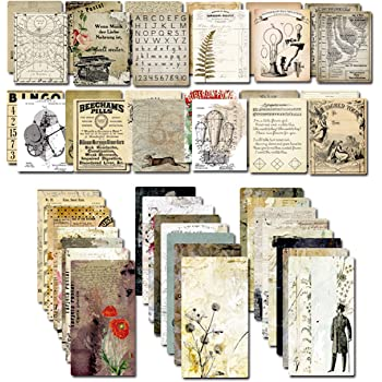 Decoupage Paper for Junk Journal TN Traveler's Notebook by CATaireen Double-Sided Vintage Scrapbook Supplies Linen Paper Bookmark Tag Art Bullet Ephemera Cards Kit 24 Sheets