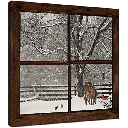Home Cabin Décor A Light In The Stable By Billy Jacobs 15x19 Red Barn Full Moon Stone House Snow Snowing Winter Christmas Framed Folk Art Print Picture Country Black Woodtone Posters