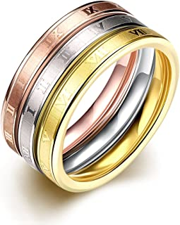 JAJAFOOK 3mm Women's Tri-Colors Stainless Steel Roman Numeral Stackable Band Ring Set, Classic Ring Bands