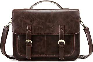 ECOSUSI Messenger Bag PU Leather Laptop Briefcase 14 inch Computer Shoulder Satchel Bag for Women and Men, Coffee