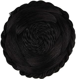 Efulgenz Indian Hair Bun Extension Braided Hair Wig Black Wedding Hair Accessories for Brides Women Girls